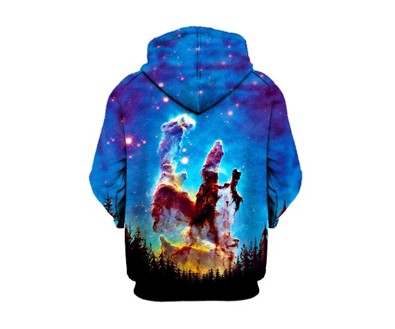 Trippy Space Zip-Up Hoodie - Nebula Forest Nature Hoody - EDM Festival Clothing - Sublimation Galaxy Print SAraM8TKy