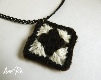 Granny Square Pendant Necklace with Hand Crocheted Lace Chain, Black and Cream Necklace, Crocheted Necklace, Craft Necklace, Yarn Necklace