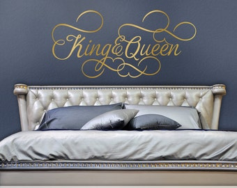 King and Queen Bedroom Decor, Romantic Bedroom Decal, Gold Wall Decal Wedding Gift for Couple, Headboard Removable Decal (0179c252v)