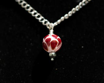 Red and White Petal Lampwork Pendant Necklace