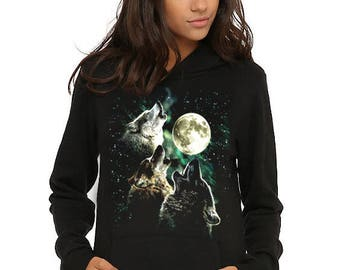 Herd of wolves moonlight Idian spirit native wolf magical northern lights hoodie