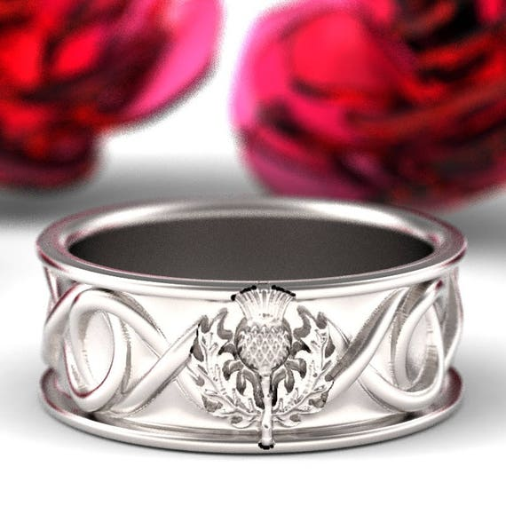 Celtic Scottish Thistle Ring Mens Wedding Ring Infinity Ring