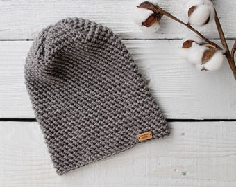 Crochet Slouch Hat : Womens Grey Beanie