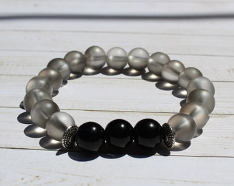 Erro Bracelet- Clear, Silver and Black Beaded Bracelet