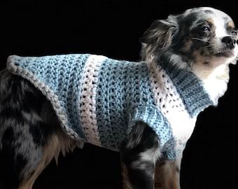 Crochet dog sweater jacket