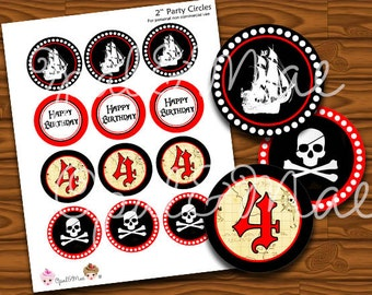 """2"""" Cupcake Topper Circles - Cupcake Wrappers -Pirate Party - Printable Party"""