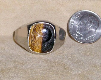 Vintage Signed Sterling Silver Men's Real Carved Tiger Eye Roman soldier Cameo Ring. Distinctive 1960's Size 12 Jewelry 2312