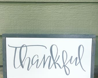 Thankful Sign Framed Canvas