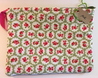 Printed pouch flowers Pinks and Greens