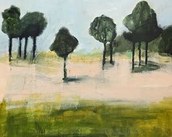 abstract landscape painting green and peach colors acrylic on wood original art landscape trees pamela munger