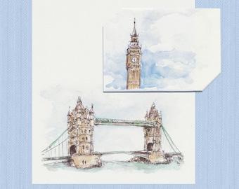 Instant Digital Download London Tower Bridge, Big Ben, Black Cab Origami Card + Envelope