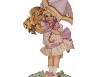 Vintage Easter Card Mechanical Made In USA Little Girl Umbrella  CD 135