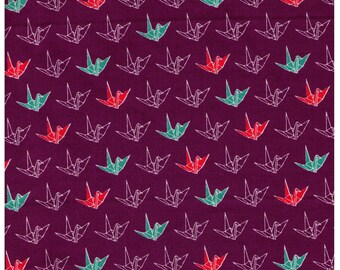HALF YARD - Origami Cranes on PURPLE - Cosmo - Japanese Imported Fabric