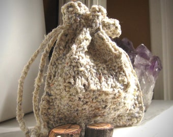 White Knit rune bag / small knit bag / drawstring rune bag / rustic knit bag / oracle bag / divination pouch / oracle pouch / elven wear