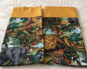 Hand Made Pillowcases-Jungle Print-Standard Size