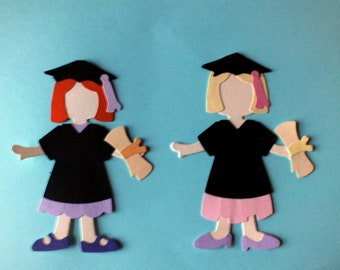 2 GRADUATON GIRL die cut shapes ASSEMBLED Exams End of Term Degree large Sizzix Dolls Exams