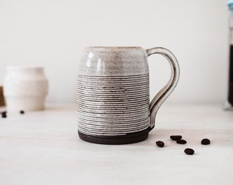 Ceramic Mug | Dark Brown Ceramic with White Glaze