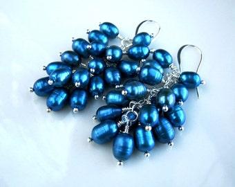 Blue Freshwater Pearl Cluster Earrings Blue Cluster Earrings Blue Pearl Earrings