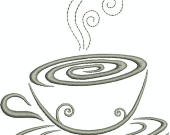 Steaming Cup of Coffee , Mug, Fresh Brew Cup, Mo Jo Cup, Machine Embroidery Design 272