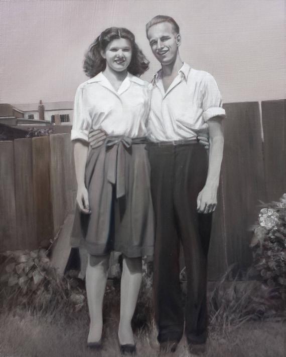 Reserved - CUSTOM PORTRAIT - Custom Painting - Oil Painting - Black and White Painting - Oil Portrait - Anniversary Gift