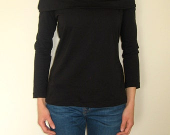 Black  Hooded Jersey Cotton Top, Large Cowl Neck Top