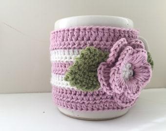 Floral Cup Cosy, Cup Sleeve, Mug Cosy, Cup Cozy, Mug Sleeve, Mug Warmer - in Pure Wool & Pure Cotton