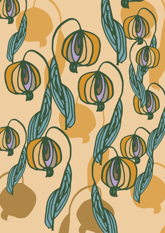 Retro florals A3 wall art Print.Botanical Poster Illustration. wall ...