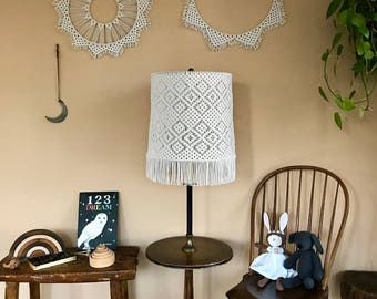Large Macrame Lampshade - Natural White Cotton - Mid Century Modern Drum Style - Geometric Design w/ Fringe - Retro Boho Chic Home Decor