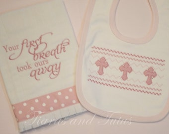 Baby Gift, Burp Cloths, Christian Baby Gifts, Embroidered Burp Cloths, Burp and Bib Set, Baby Girl Gift, Baby Boy Gift
