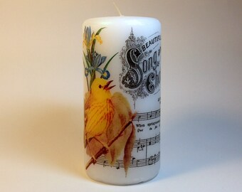 Yellow Bird Decorative Candle, Bathroom Candle, Cottage Chic, Bedroom Candle, Spring Bird Image Candle, Spring Home Decor Candle