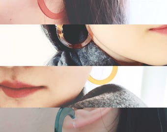 New collection of clips for non-pierced ears earrings in a circle, multiple colour color fun, invisible clip earring