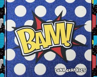 BAM Comic Book woorden decoratie papier patchwork kaart maken en scrapbooking