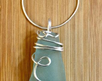 Seafoam/blue seaglass Pendant necklace