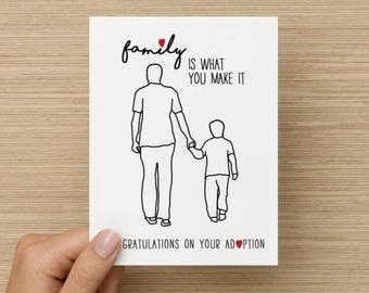 Family Is What You Make It Adoption Congratulations Recycled Paper Folded Card