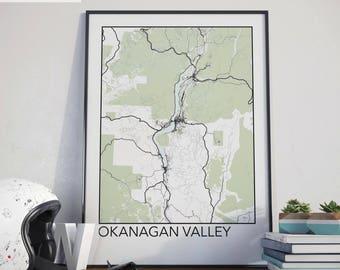 Okanagan Valley, BC Minimalist City Map Print