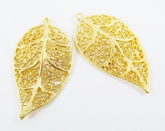 Small Filigree Leaf Pendant Charms - 22k Matte Gold Plated - 2PC