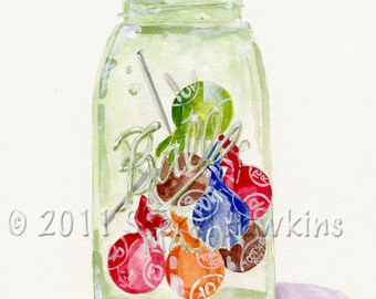 Mason Jar with Tootsie Pops  Watercolor Painting - fine Art Print of  Original Watercolor