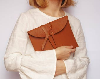 READY TO SHIP Leather clutch Gift for her Small gift Brown leather clutch