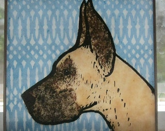 Stained Glass  Dog  Suncatcher  Fawn Great Dane  JRN020