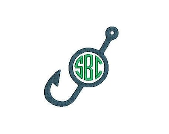 Fishing Hook Monogram Frame Embroidery Design File for Embroidery Machine Nautical Cute Boy Preppy