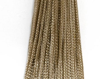 Set of 10 Sandstone Woven Head Chainette Tassel, 5.5 Inch Long With 2 Inch Loop, Basic Trim Collection Style# Bh055 Color Sandstone Beige -