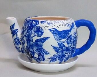 "Made To Order, Handmade Decoupage Ceramic Teapot Flower Pot, Birds, Floral 4"", Succulent Pot"