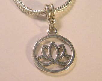 AC24 lotus flower charm - balance pendant lotus - 36 mm - Silver Flower bead-