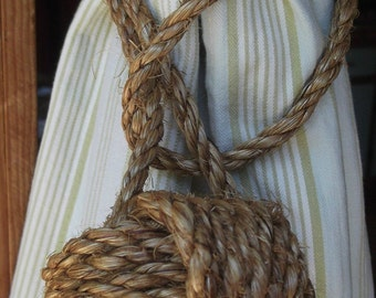 Nautical Tiebacks, 20 Nautical Rope Tie backs, Nautical Home Decor, Handmade - Curtain Tie back, Rope Tiebacks, Brown Curtain Tiebacks