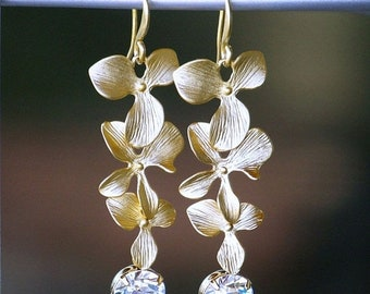 On Sale A Trio of Matte Gold Flowers with Swarovski Crystals, Long Dangle Earrings