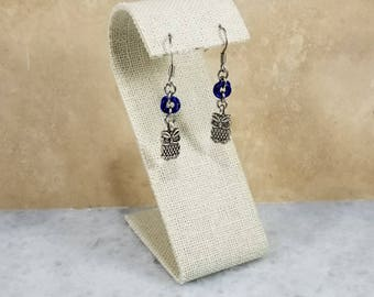 Chainmaille Earrings - Blue with Silver Owl Charms