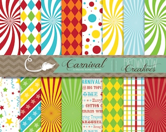 Circus/Carnival Digital Papers/Backgrounds