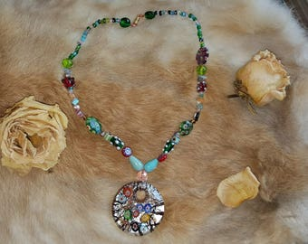 Millifiore Glass and Flowers Necklace