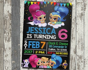 Shimmer and Shine Invitation, Shimmer and Shine Birthday Party, Shimmer and Shine Birthday Invitation, Personalized, Digital File