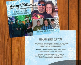 Christmas Card / Photo Christmas Card / Custom Photo Christmas Card / Holiday Card / Photo Greeting Card / Snowflake / 5x7